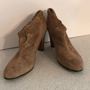 Tan suede leather hi heel booties by Sam Edelman